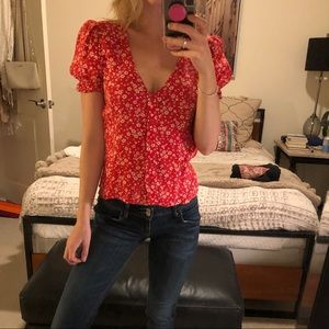 Reformation size s floral button up blouse